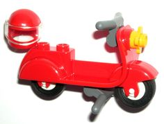LEGO Red Minifigure Scooter/Motorcycle/Moped with Helmet #LEGO