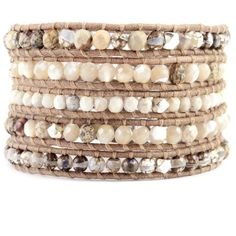 Natural Mix Silver Wrap Bracelet on Beige Leather - Chan Luu