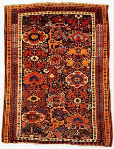 Kurdish rug from the SAUJBULAGH area, NW Iran, early 19th century.  198 x 147 cm. (Rothberg Collection).