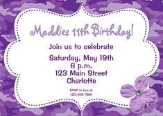 Purple Camo Girls Birthday Party Invitation -- funky purple camoflauge - flowers - you print or I print. $10.00, via Etsy.