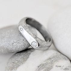 "Diamond Engagement, Wedding Ring, Womens ring, Diamond jewelry, Love ring, Promise ring - damascus ring ""Gemini"" with diamonds"