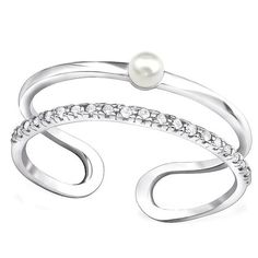 Pearl Ring, Silver Mother of Pearl Adjustable Ring, CZ Pearl Ring Stackable, Dainty Freshwater Pearl Engagement Rings, Pearl Bridal Ring This dazzling sterling silver ring design perfectly highlights the classic appeal of the white cultured freshwater pearl. Appearing as if lit from within