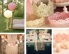 pretty for a baby shower. Color scheme: white, peach, gold...maybe a  little black here and there.