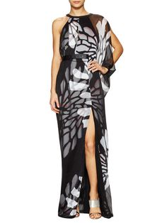 Asymmetrical Chiffon Overlay Gown  by Halston Heritage at Gilt