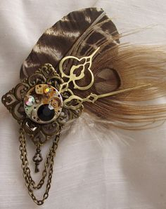 Steam Punk turkey | Steampunk Feather Fascinator- Fawn Feather Curiosity- Clocks and Gears ...