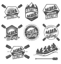 Set of vintage whitewater rafting labels vector 1284472 - by ivanbaranov on VectorStock®