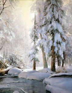 Painting by Michael Godfrey Watercolor Trees, Watercolor Landscape, Landscape Art, Landscape Paintings, Painting Snow, Winter Painting, Beautiful Winter Scenes, Winter Scenery, Snow Scenes