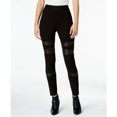 Two By Vince Camuto Faux-Leather-Trim Leggings ($48) ❤ liked on Polyvore featuring pants, leggings, rich black, vince camuto leggings, faux leather trim leggings, legging pants, faux-leather pants and faux-leather leggings