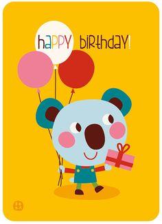 Happy Birthday verjaardagskaart met envellop koala door ByBora