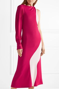 Crepe Midi Dress - Fuchsia Tome