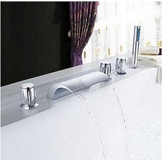 Chrome Two Handles Waterfall Widespread Tub Tap T001-19  http://www.uktaps.co.uk/bathtub-taps-c-21.html