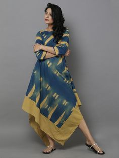 Mustard Blue Clamp Dyed Bias Dress