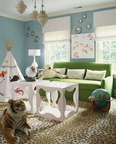 SallyL: Lynne Scalo Design - Fun kids room with blue walls and green sofa! Maybe wouldn't do leopard carpet. Leopard Carpet, Leopard Rug, Cheetah Print, Blue Paint Colors, Living Room Green, Living Rooms, Green Pillows, Kids Bedroom, Kids Rooms