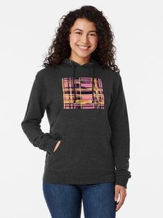 """""""Pink & Yellow Layered Colors"""" by Courtney Hatcher. Light weight hoodie. Color blocking design, modern minimalism, layered geometric pattern, vibrant design. Charcoal grey hoodie featuring original digital art. Women's fashion, women's apparel, women's clothing, casual fashion, colorful hoodie, comfy sweater, modern art hoodie, abstract hoodie, geometric pattern sweater, winter fashion, functional art, wearable art, affordable art. ©Courtney Hatcher All Rights Reserved T Shirt Designs, Sweat Shirt, Pug Shirt, Cat Shirts, Streetwear, Vintage T-shirts, Thick Thighs, Halloween, French Terry"""