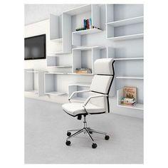 Modern Adjustable Upholstered Ergonomic Office Chair - White - ZM Home