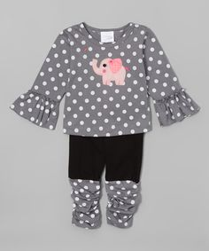 Look at this Victoria Kids Silver Polka Dot Elephant Tee & Leggings - Infant & Toddler on #zulily today!