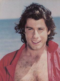 JOHN TRAVOLTA pinup - Shirtless on beach! GREASE shot! Real Men Have Chest Hair!