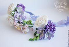 Свадебные украшения ручной работы. Ярмарка Мастеров - ручная работа. Купить Весенний браслет с цветами из полимерной глины. Handmade.