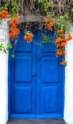 Blue Doors in San Miguel de Tucumán, Argentina / Door Old Doors, Windows And Doors, Magic Garden, When One Door Closes, Unique Doors, Grand Entrance, Door Knockers, Closed Doors, Doorway