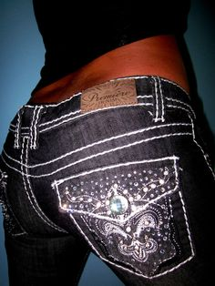 PREMIERE by RUE21 Crystal Studded Thick Stitch Stretch BootCut Jeans 1/2 26 x 32 #PREMIEREbyRUE21 #BootCut
