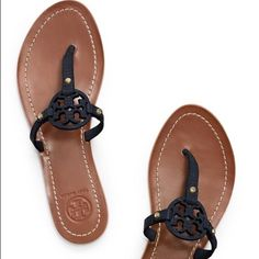 NIB Tory Burch Mini Millers Brand New In Box! Never Worn! Size 9 Tory Burch Mini Millers in Tory Navy! This signature sandal is ON TREND! No trades. Know your TB size please!  Retail Price $195 Tory Burch Shoes Sandals