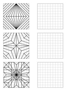 Here is a file of 30 geometric figures of increasing difficulty to repro - Holly's Education Archive Graph Paper Drawings, Graph Paper Art, Middle School Art, Art School, Arte Elemental, Art Worksheets, Math Art, Zentangle Patterns, Geometric Art