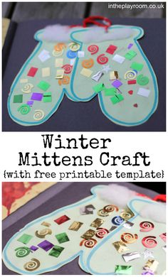 Winter mittens craft for kids with free printable template