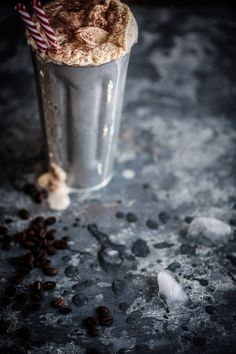 THE only way to wake up every morning. A decadent milkshake made from homemade coffee caramel, ice cream and iced cold milk! Food Styling | Food Photography | Dark Food Photography | Moody | Anisa Sabet | The Macadames