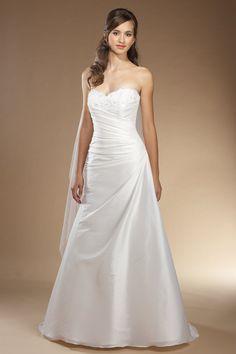 A-Linie Herz-Ausschnitt Taft schlichtes bodenlanges Brautkleid