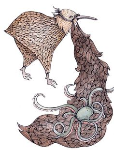 Kiwi Beard Print 5x7 by thelittlecanoe on Etsy, pretty standard to have an octopus tangled in your fake beard!! :D
