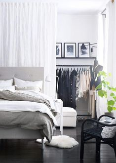 Use the curtain as a room divider - smart living ideas- Vorhang als Raumtrenner verwenden – kluge Wohnideen room divider ideas continue example curtain partition - Ikea Bedroom Design, Bedroom Decor, Bedroom Ideas, Bedroom Designs, Bedroom Inspiration, Bed Ideas, Cozy Bedroom, Closet Designs, Bedroom Furniture