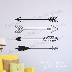 Arrow Wall Decal- Arrow Wall Art- Tribal Decal Arrows Simple Wall Art- Tribal Arrow Decor Nursery Bedroom Dorm Living Room Wall Art