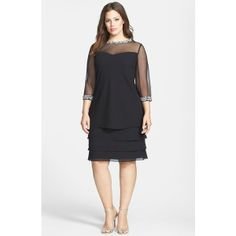 Alex Evenings Embellished Tiered Shift Dress (Plus Size) Cocktail Dresses With Sleeves, Elegant Cocktail Dress, Plus Size Cocktail Dresses, Cocktail Outfit, Trendy Dresses, Casual Dresses, Fashion Dresses, Wrap Dresses, Linen Dresses