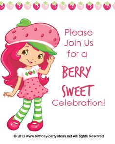 Strawberry Shortcake Birthday Party birthday party invitation