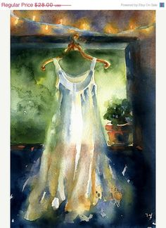 Watercolor Print white gown Watercolor Christmas by AlisaPaints, $22.40