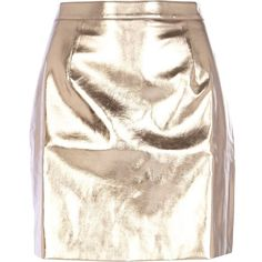 River Island Rose gold metallic leather-look mini skirt ($20) ❤ liked on Polyvore featuring skirts, mini skirts, pink a line skirt, mini skirt, pink metallic skirt, short a line skirt and short skirts