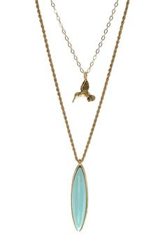 Baby Blue Bird Oval Necklace Set by Jami Rodriguez on @HauteLook