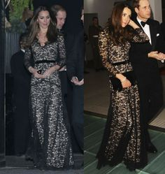 """Duchess Kate recycles stunning black lace Temperley gown to Natural History Museum. Love it! Love her style. (Though why does wearing something twice have to be called """"recycling""""? Even rich and famous people are allowed to do that.)"""