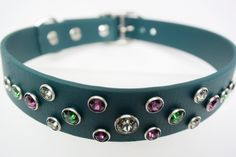 Swarovski Crystal Dog Collar ~ Green with Envy ~ Comfy Durable Secure & Waterproof ~ Collars By Kitt