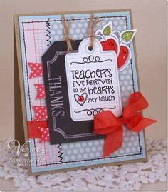 Card by Maureen Plut using Tag Time and Teachers Count from Verve.  #vervestamps