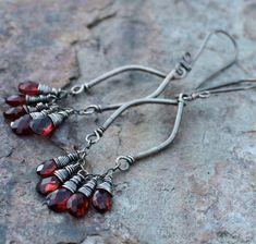 GARNET earrings, Garnet chandelier earrings, JANUARY birthstone, January birthday, sterling silver. via Etsy.