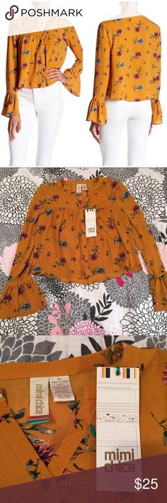 """NWT Mimi Chica Long Bell Sleeve Button Blouse XS see photos for full description  Official color is """"mustard"""" Floral print throughout   Size XS, please let me know if you would like any measurements   Brand new with tags Mimi Chica Tops Blouses"""
