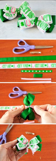 St. Patricks Day Twin Hair Bows | Click Pic for 17 Easy St Patricks Day Crafts for Kids to Make | Easy St Patricks Day Crafts for Toddlers to Make