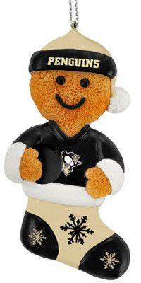 Pittsburgh Penguins NHL Hockey Gingerbread Man in Stocking Christmas Ornament