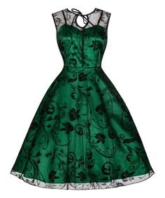 Look what I found on #zulily! Lindy Bop Green & Black Lace Frankie Jean Dress by Lindy Bop #zulilyfinds