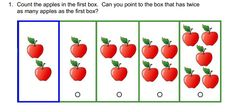 Count the apples in hte first box. Can you point to the box that has twice as many apples as the first box? #wisc