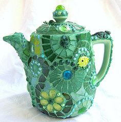 Green Mosaic Teapot Green glass, green beads, green jewels, green shards and various other green findings on a green teapot...from Frances Green's photostream