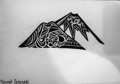 Drawing of Mount Taranaki/Egmont, near New Plymouth New Zealand by Kezia Stewart