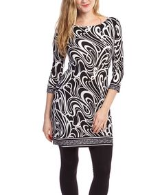 This Black & White Abstract Three-Quarter Sleeve Dress is perfect! #zulilyfinds