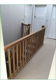Marley Lane Staircase - This is a great example of an American white oak, single-winder staircase completed with stop-chamfered newel posts, pyramid newel caps and stop-chamfered spindles. Oak Handrail, Metal Spindles, Banisters, Oak Stairs, Newel Posts, Curved Staircase, Refurbishment, Hallway Ideas, White Oak